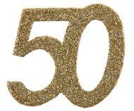 """Konfety """"50"""" třpytivé zlaté"""