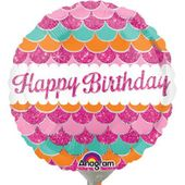 Mini fóliový balónek Happy Birthday pink