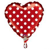 Mini fóliový balónek Heart red dots