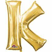 """Fóliový balónek """"K"""" zlatý"""