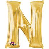 """Fóliový balónek """"N"""" zlatý"""