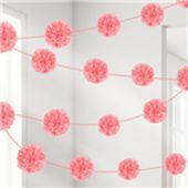 Pomponová girlanda růžová