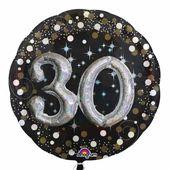 """Prémiový multi balónek """"30"""" Gold Diamonds"""