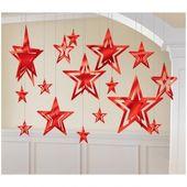Sada závěsných hvězd - červené