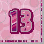 "Ubrousky Birthday ""13"" Pink"