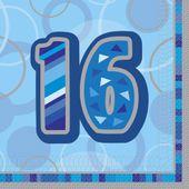 "Ubrousky Birthday ""16"" Blue"