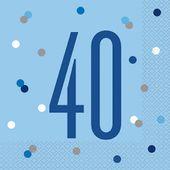 "Ubrousky Birthday ""40"" Blue"