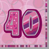 "Ubrousky Birthday ""40"" Pink"