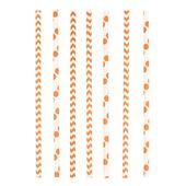 Brčka papírové Chevron&Dots oranžové