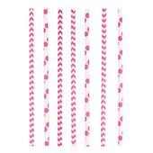 Brčka papírové Chevron&Dots růžové