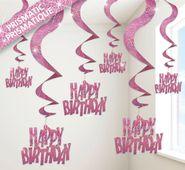 Spirály glitz Happy Birthday růžové