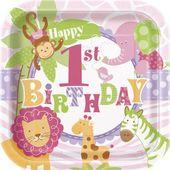 Talíř 1.narozeniny pink Safari