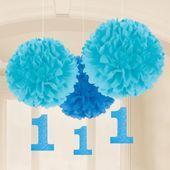 Závěsné pomponové koule baby blue s číslem jedna