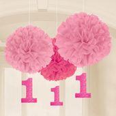Závěsné pomponové koule baby pink s číslem jedna