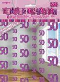 Závěsné dekorace glitz 50 růžové