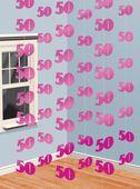 Závěsné dekorace růžové 50