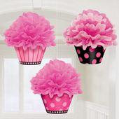 Závěsné košíčky s koulí růžové