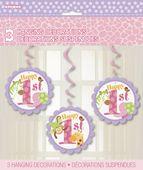Závěsné spirály 1. narozeniny pink Safari