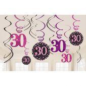 Závěsné spirály 30 pink diamonds