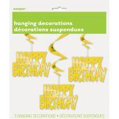 Zavěné spirály Happy Birthday zlaté