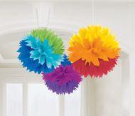 Závěsné pomponové koule rainbow