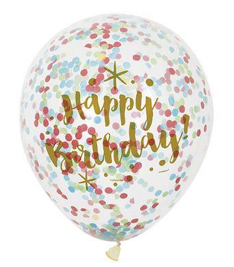 Balónky s konfetami Happy Birthday - zlaté