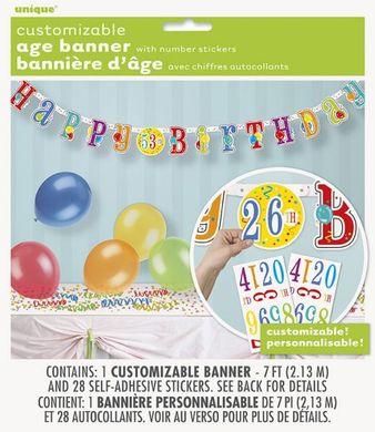 Banner s číslem Happy Birthday balloons