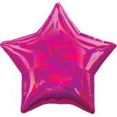 Fóliový balónek hvězda holografický tmavorůžový