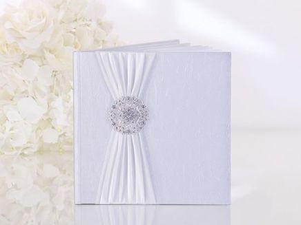 Kniha hostů bílá stříbrná spona