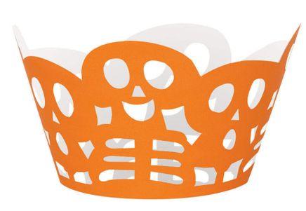 Obsal na cupcake Oranžové lebky