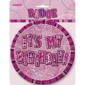 Odznak It's my Birthday pink