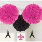 Závěsné pomponové koule s dekorací A Day in Paris