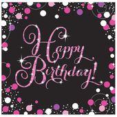 "Ubrousky ""Happy Birthday"" Pink Diamonds"