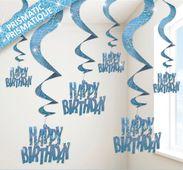 Spirály glitz Happy Birthday modré