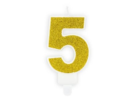 "Svíčka Číslo ""5"" zlatá"