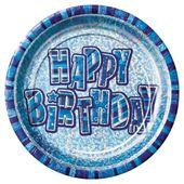 Talíř Birthday Blue Glitz