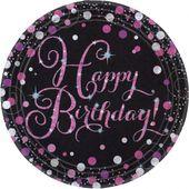 "Talíř ""Happy Birthday"" Pink Diamonds"