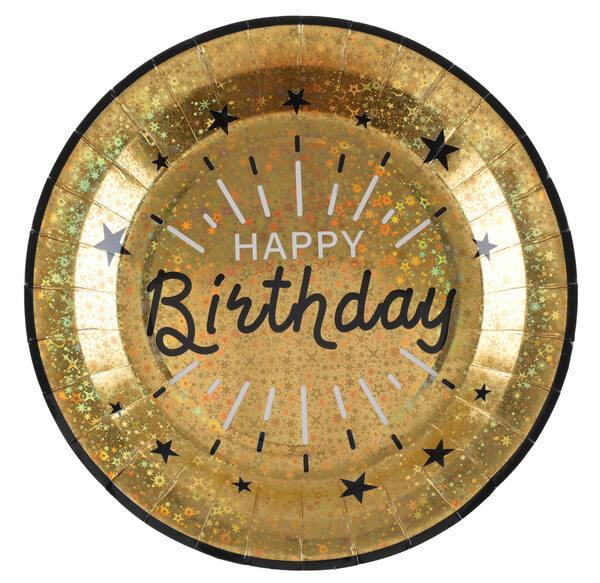 Levně Talíř zlato-černý Happy Birthday 22cm 10ks