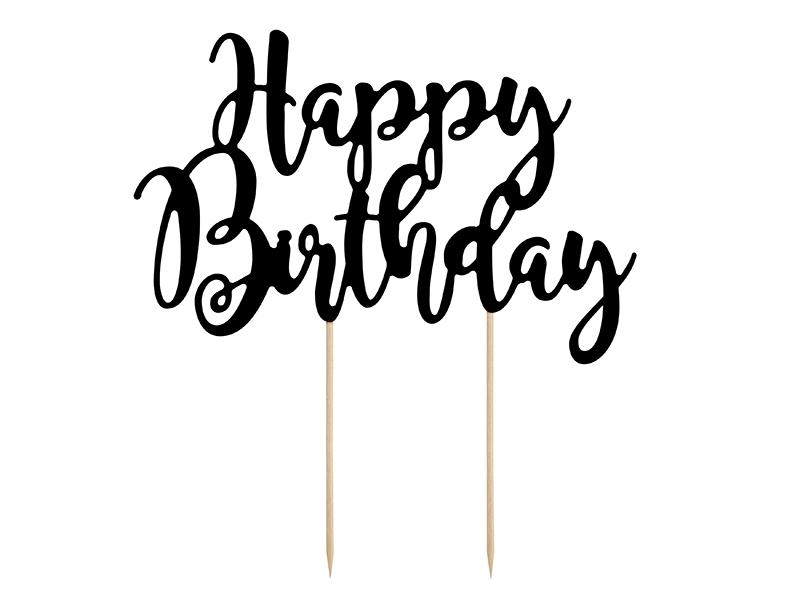 Zápich na dort Happy Birthday černý