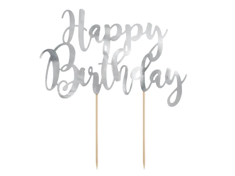 Zápich na dort Happy Birthday stříbrný